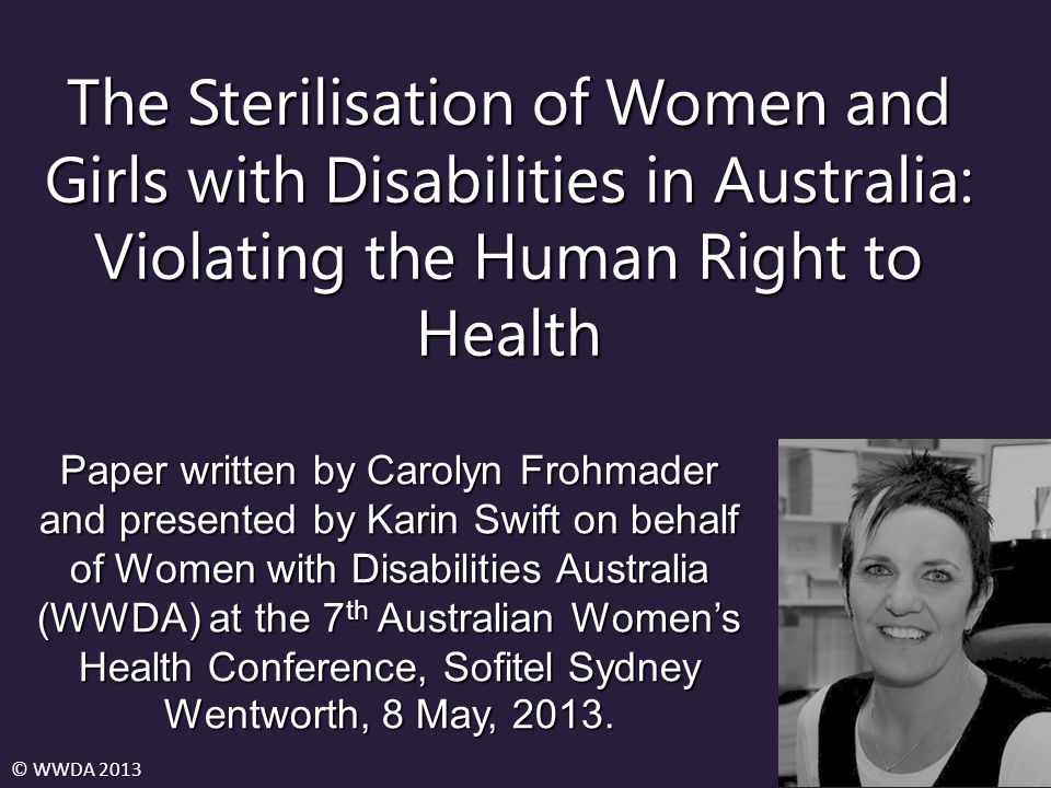 The Sterilisation of Women and Girls with Disabilities in Australia: Violating the Human Right to Health