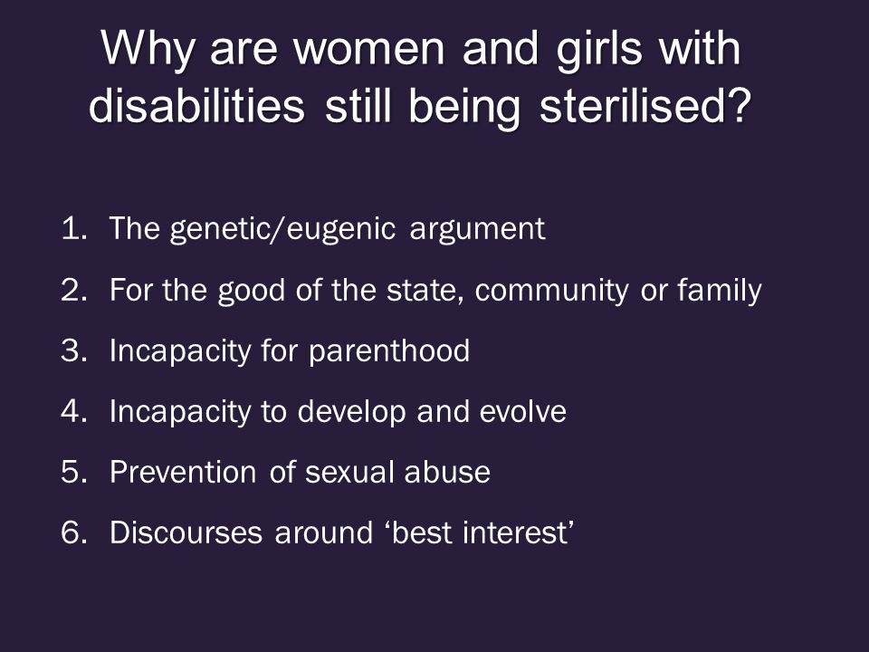Why are women and girls with disabilities still being sterilised