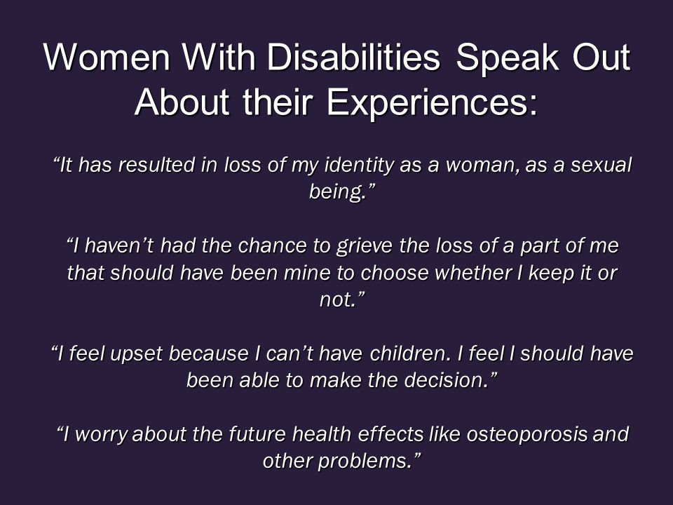Women With Disabilities Speak Out About their Experiences: