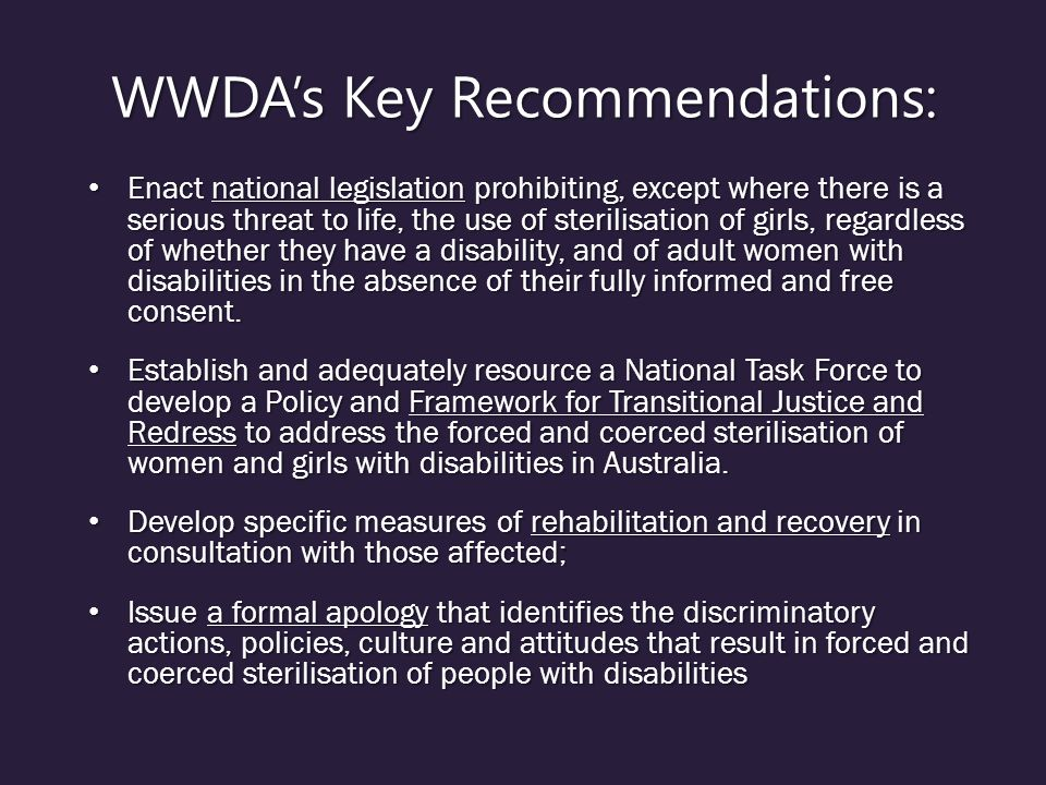 WWDA's Key Recommendations:
