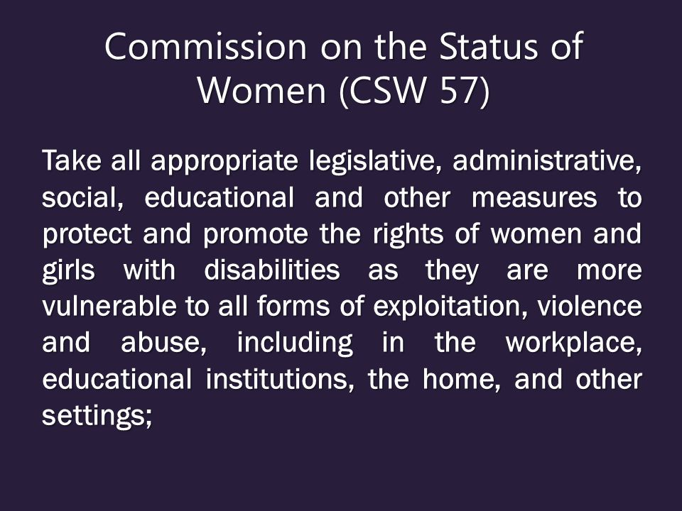 Commission on the Status of Women (CSW 57)