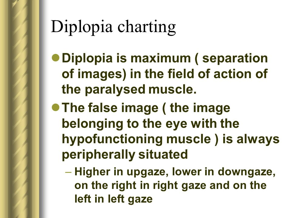 Diplopia charting Diplopia is maximum ( separation of images) in the field of action of the paralysed muscle.