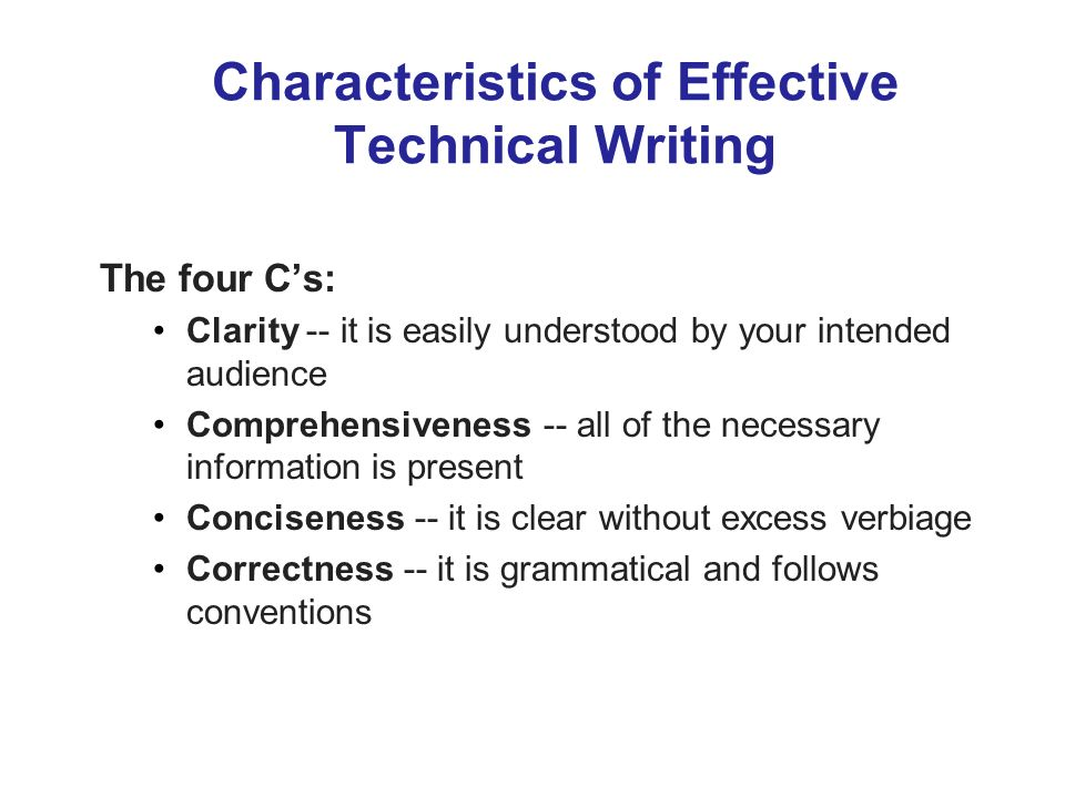 Characteristics of technical writing audience