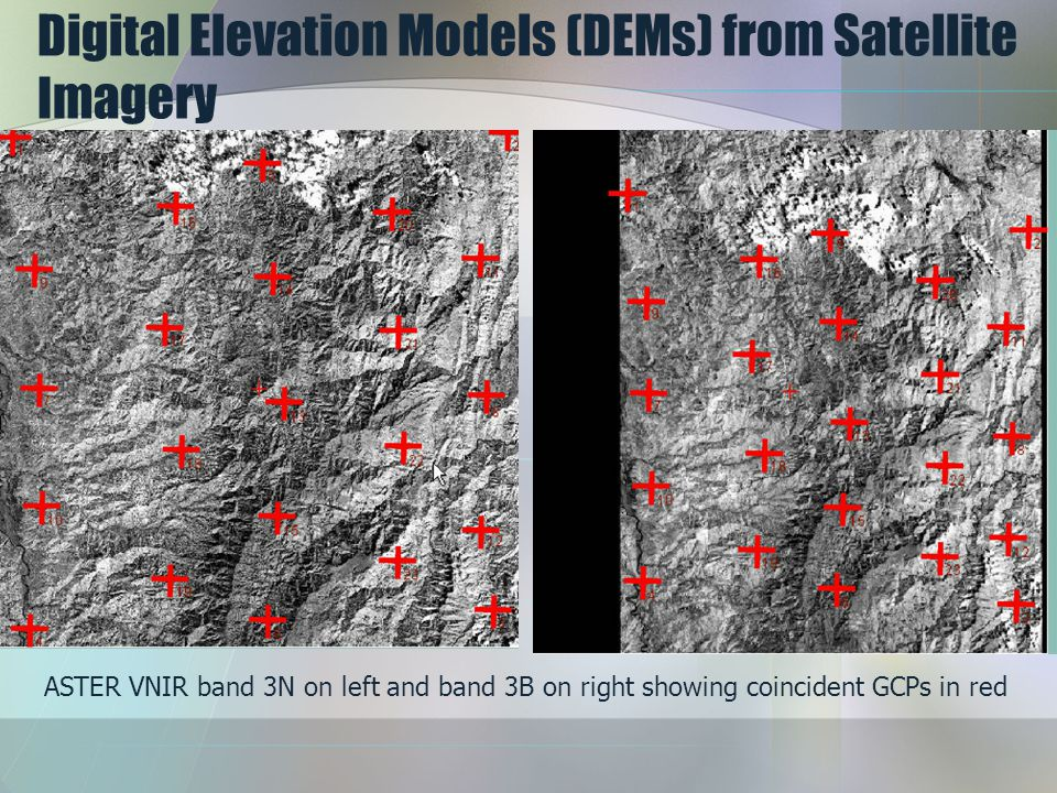 Digital Elevation Models (DEMs) from Satellite Imagery