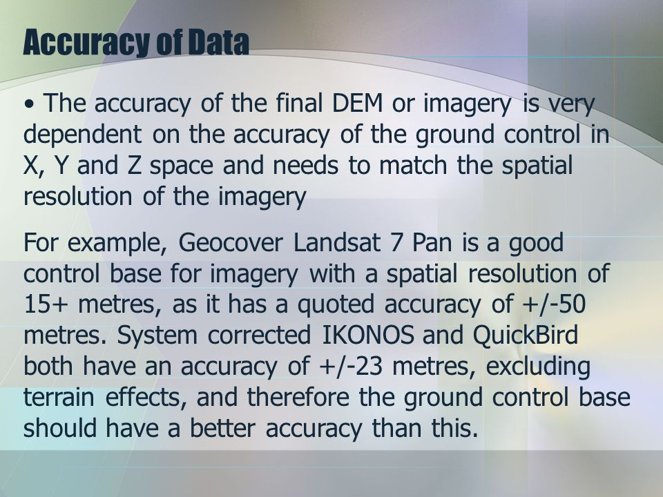 Accuracy of Data
