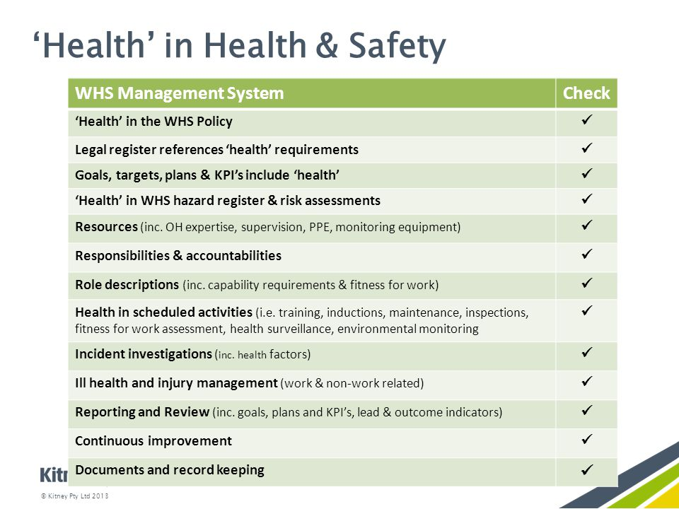 how health and safety is monitored The health and safety policy is part of the health and ensure that health and safety incidents are reported, monitored and reviewed within their area of.