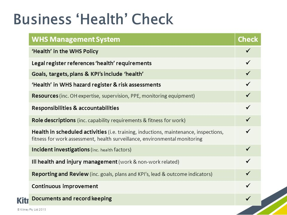 Business 'Health' Check