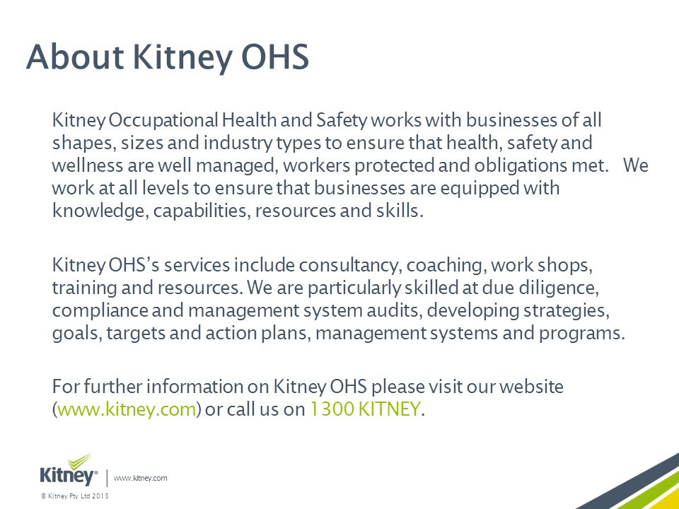About Kitney OHS