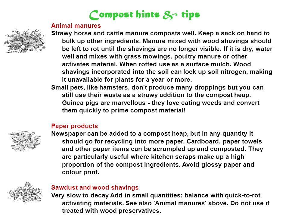 Compost hints & tips Animal manures
