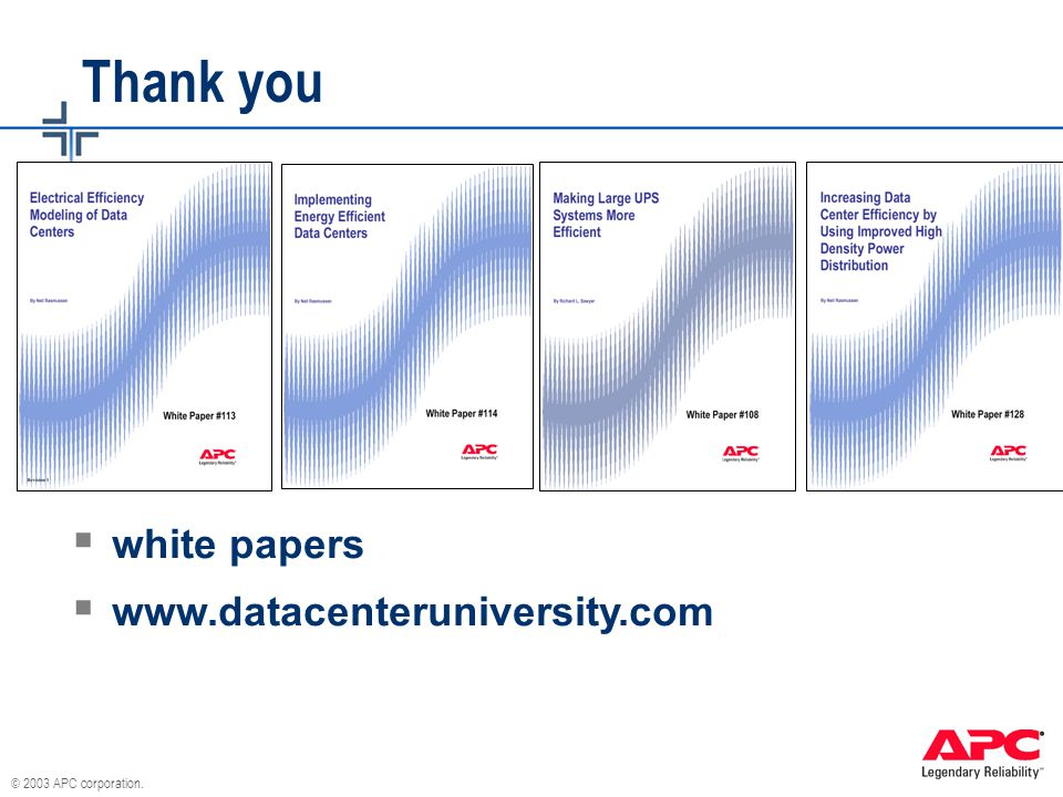 Thank you white papers www.datacenteruniversity.com