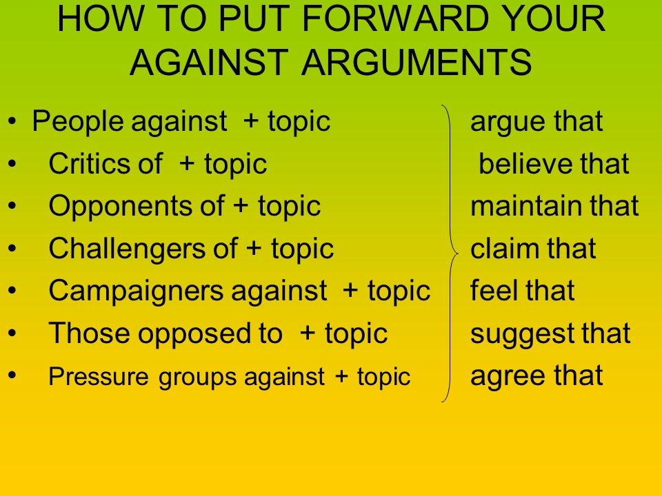 HOW TO PUT FORWARD YOUR AGAINST ARGUMENTS