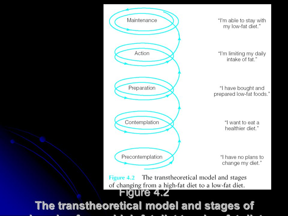 Figure 4.2 The transtheoretical model and stages of changing from a high-fat diet to a low-fat diet.