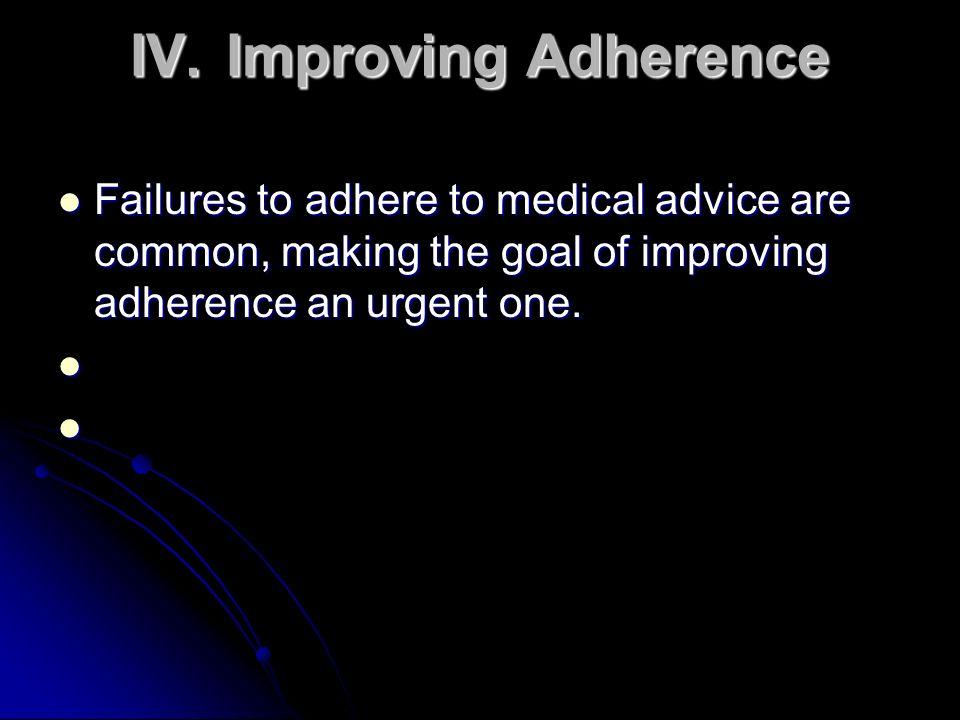 IV. Improving Adherence