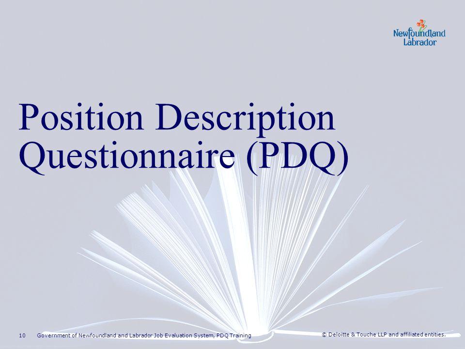 Position Description Questionnaire (PDQ) Overview