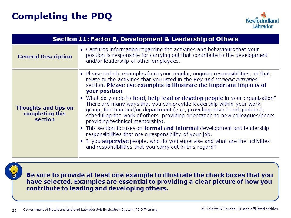 Completing the PDQ Section 12: Factor 9, Environmental Working Conditions. General Description.