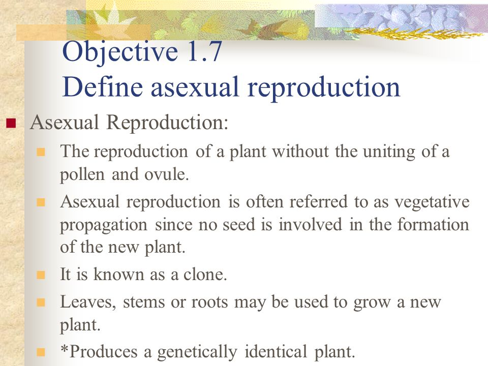 Objective 1.7 Define asexual reproduction