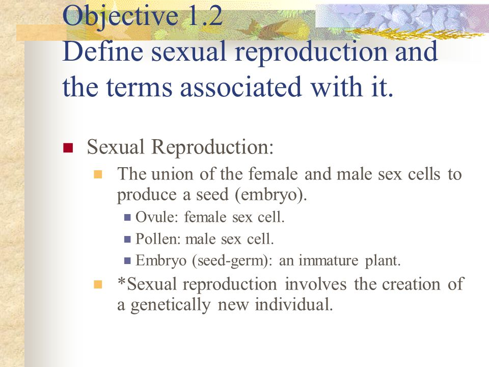 Objective 1.2 Define sexual reproduction and the terms associated with it.