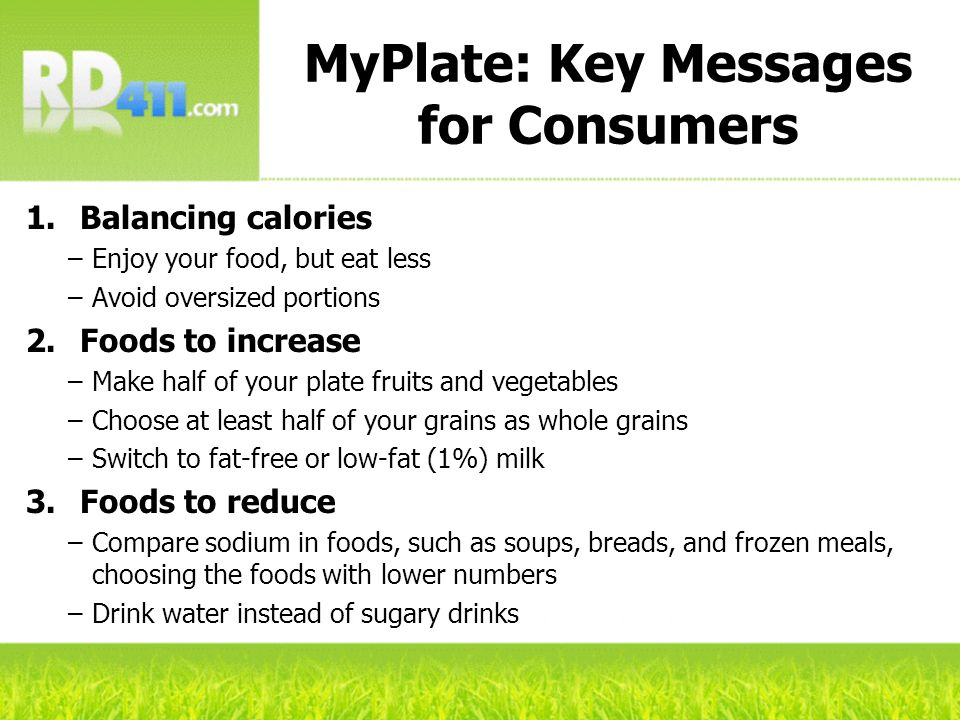 MyPlate: Key Messages for Consumers