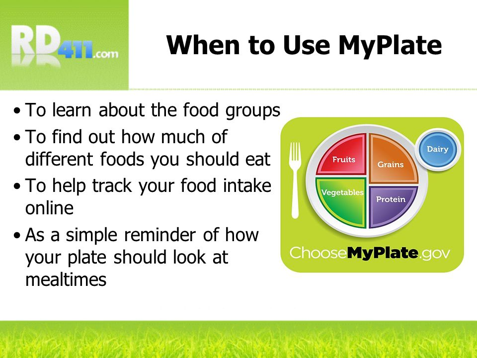 When to Use MyPlate To learn about the food groups