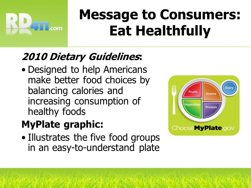 Message to Consumers: Eat Healthfully