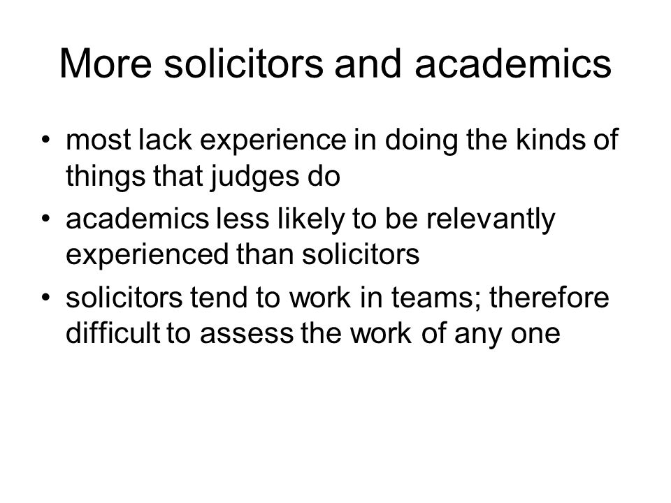 More solicitors and academics