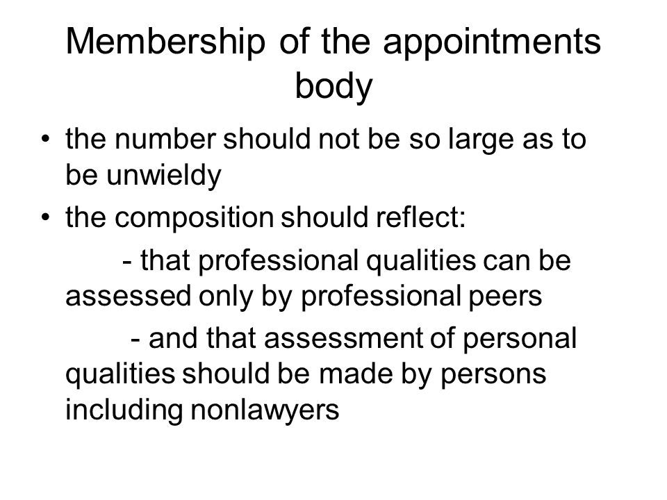 Membership of the appointments body