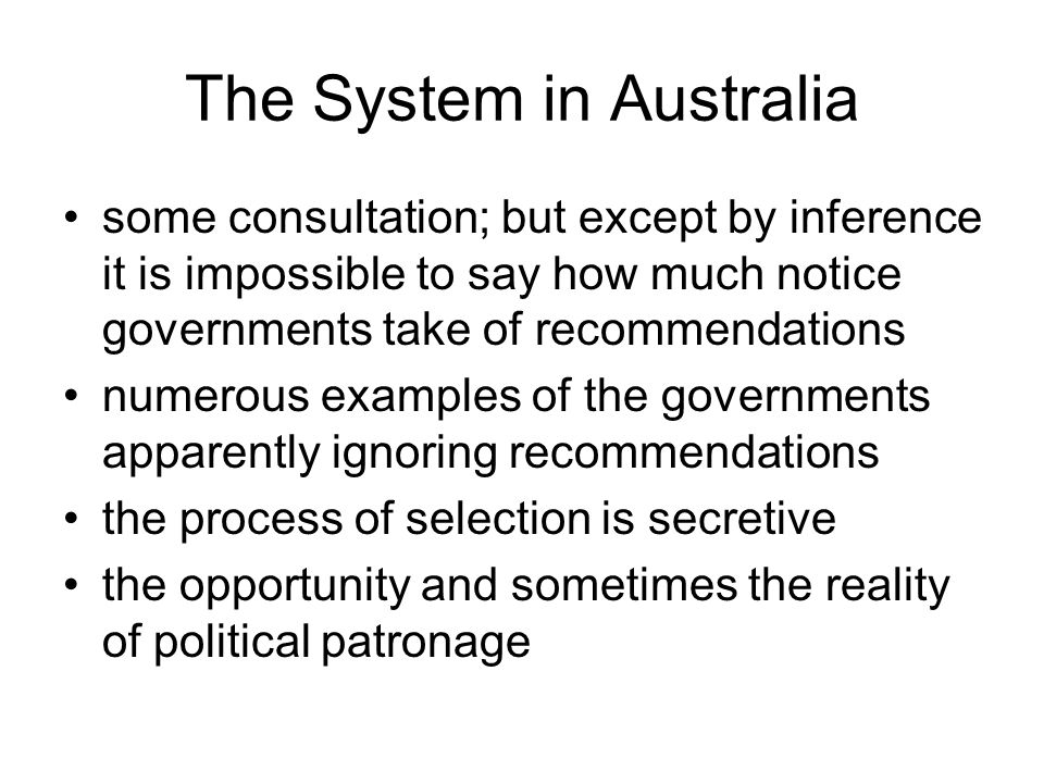 The System in Australia
