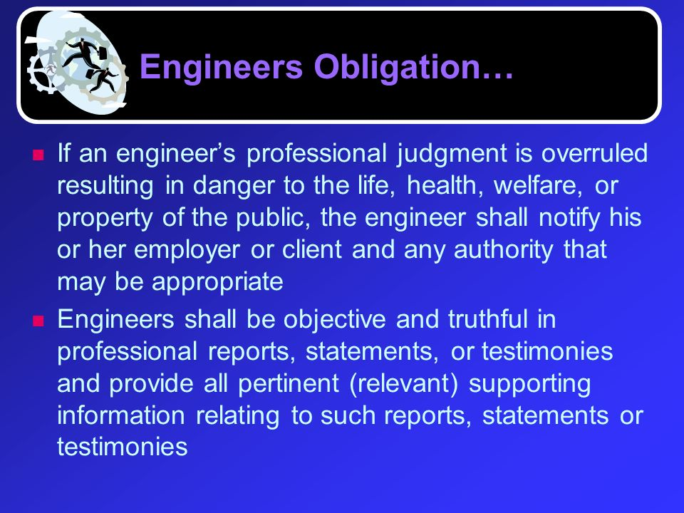 Engineers Obligation…
