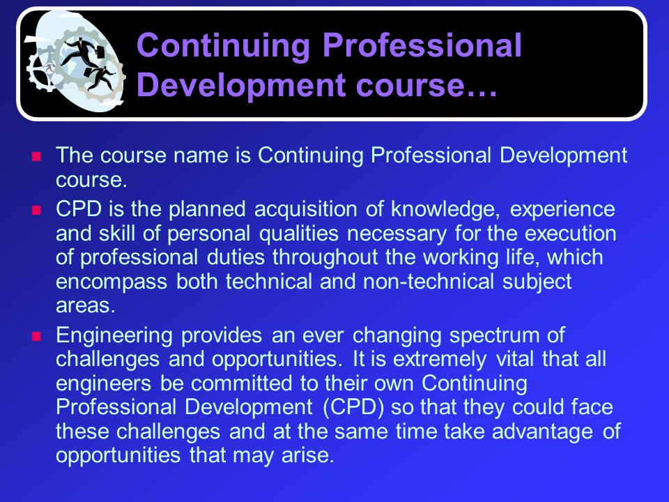 Continuing Professional Development course…