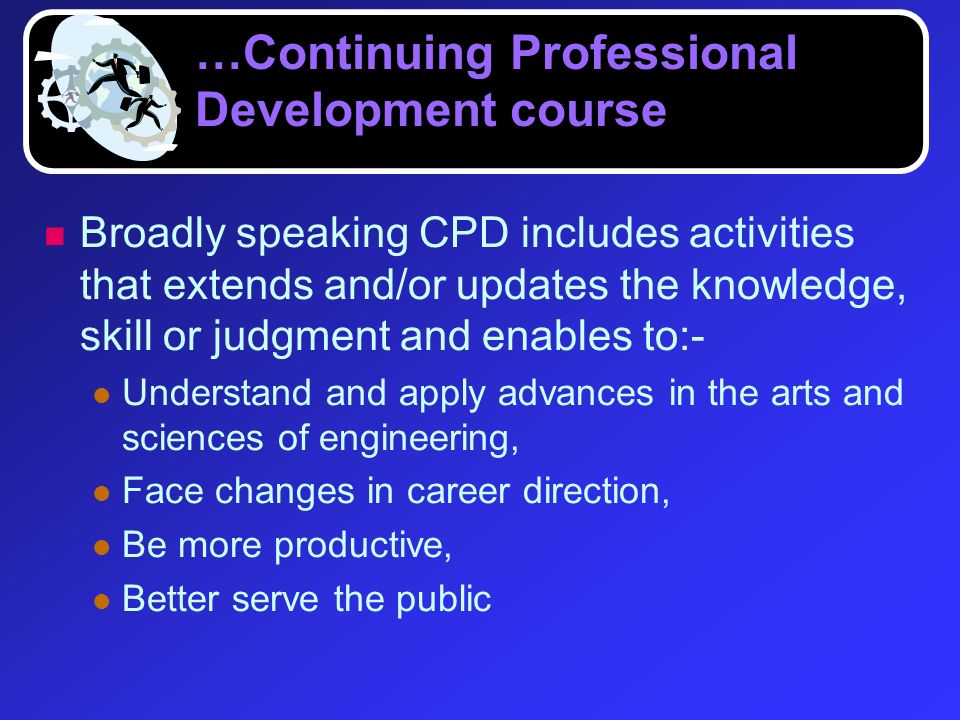 …Continuing Professional Development course