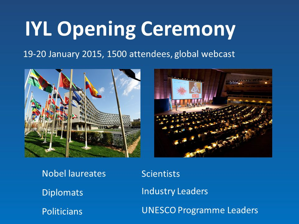 IYL Opening Ceremony 19-20 January 2015, 1500 attendees, global webcast. Nobel laureates. Diplomats.