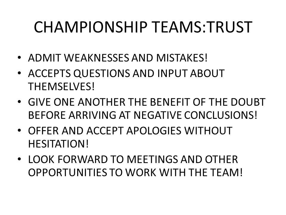CHAMPIONSHIP TEAMS:TRUST