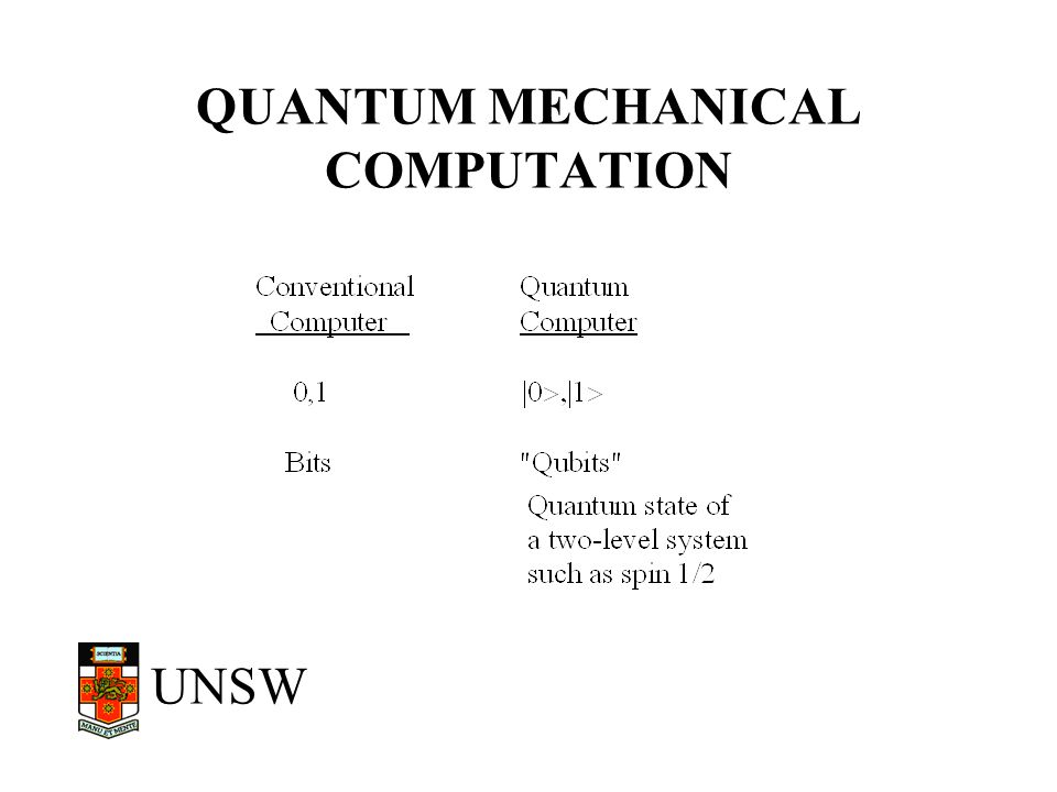 QUANTUM MECHANICAL COMPUTATION