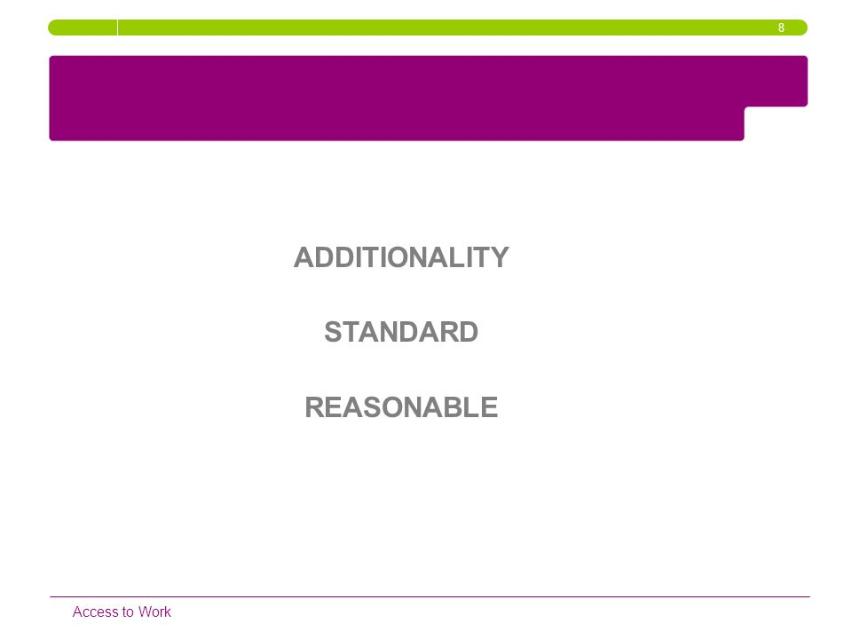 ADDITIONALITY STANDARD REASONABLE