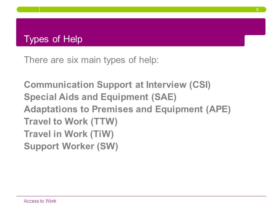 Types of Help There are six main types of help: