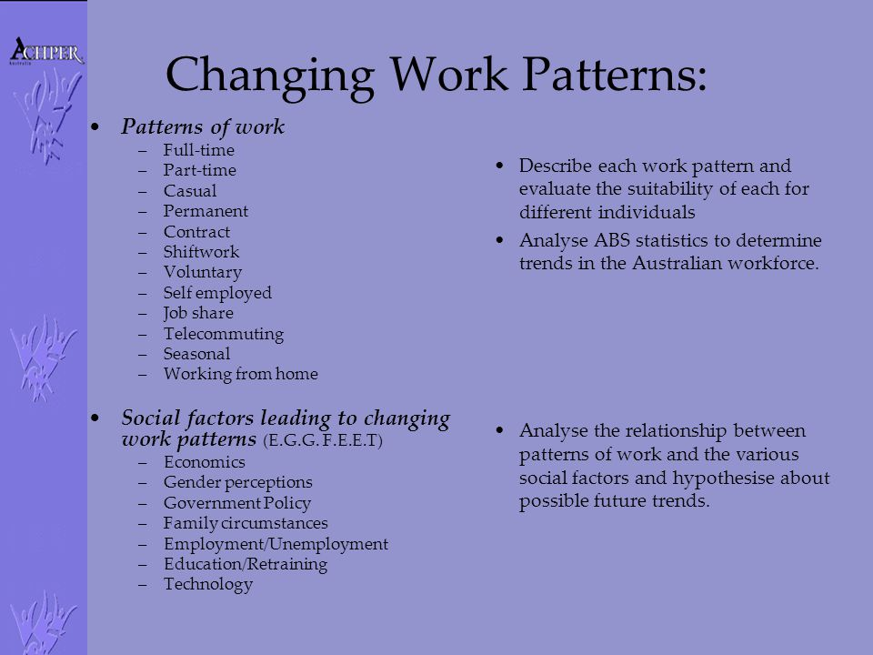 Changing Work Patterns: