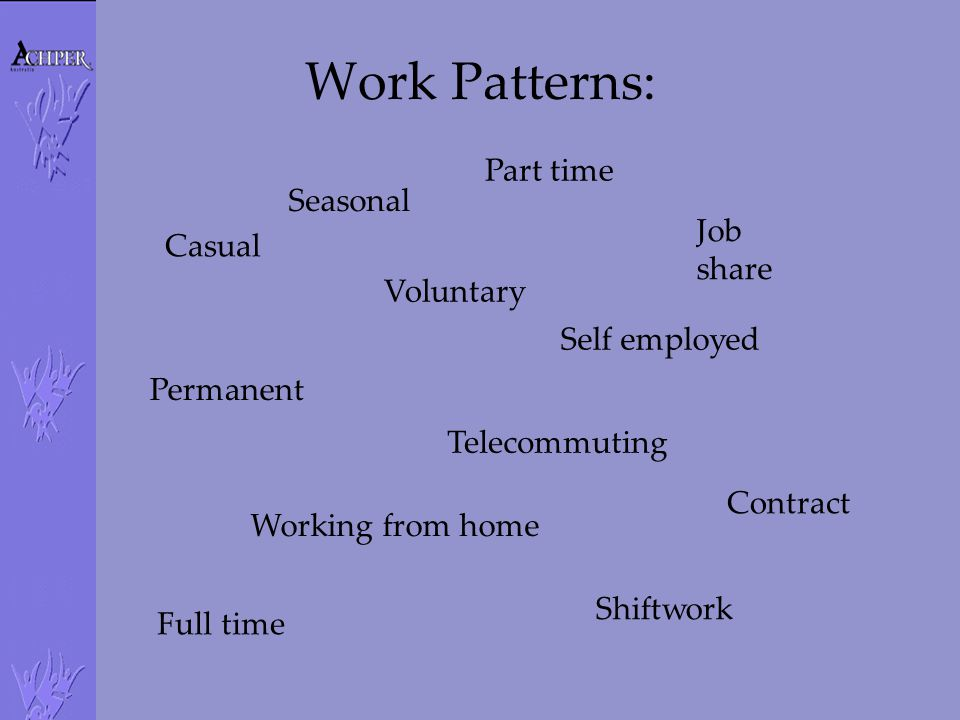 Work Patterns: Part time Seasonal Job share Casual Voluntary
