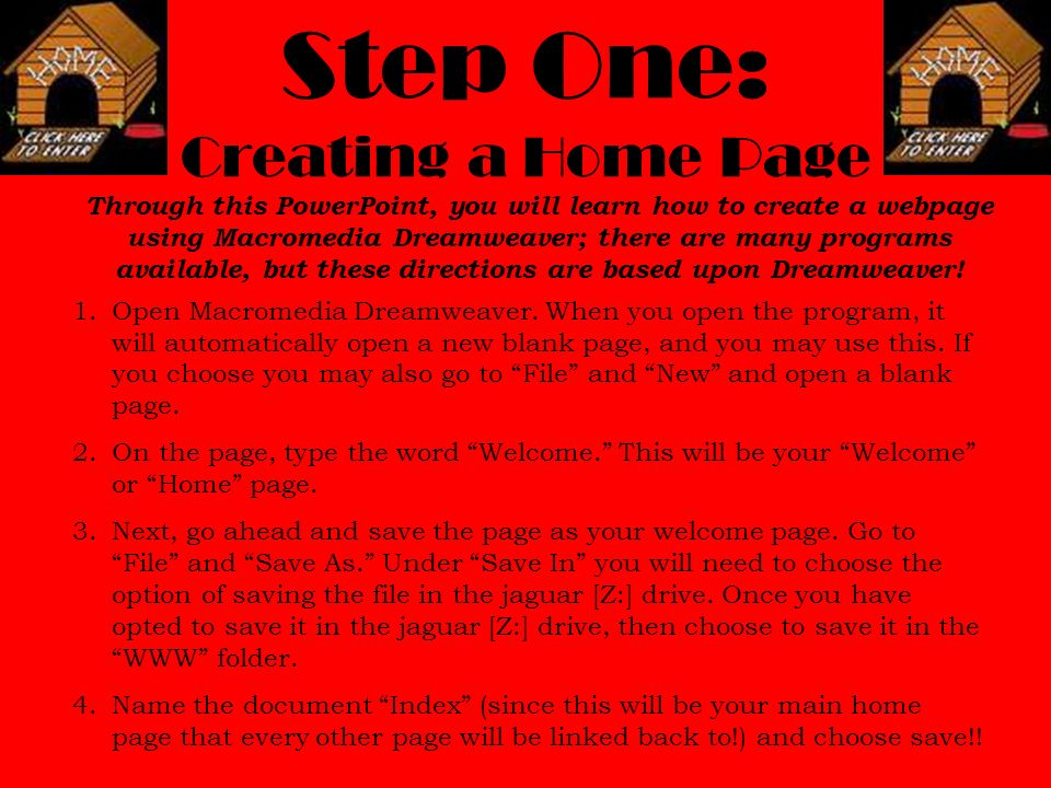 step one creating a home page - Design Your Own Home Page