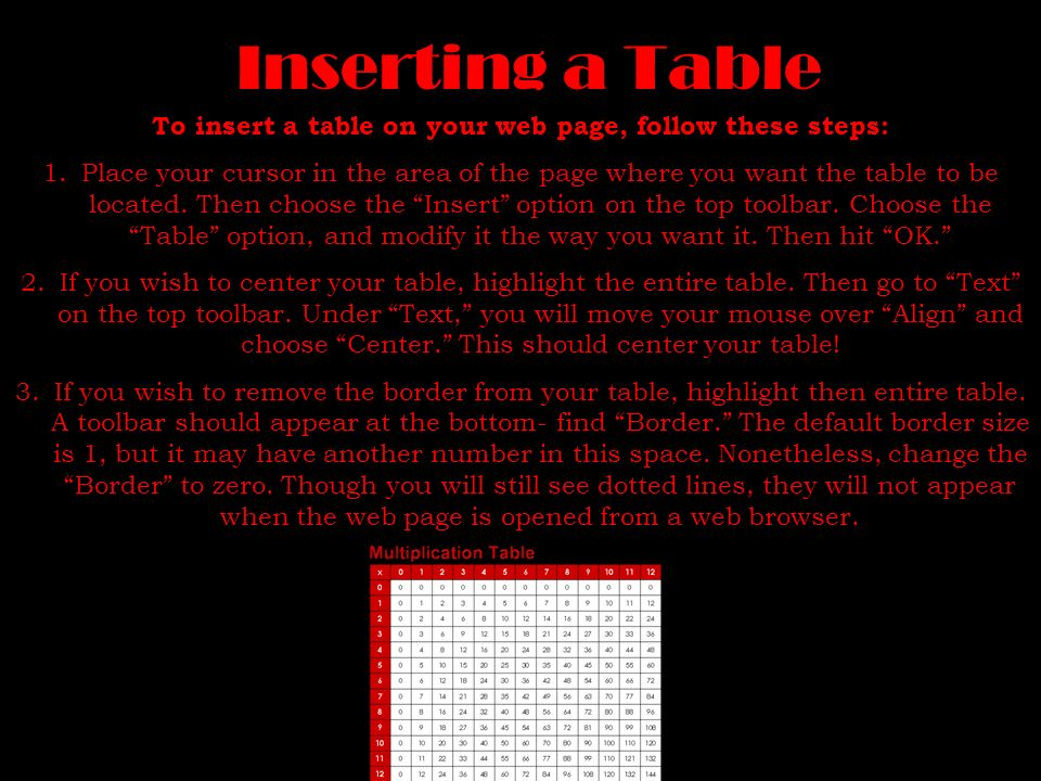 To insert a table on your web page, follow these steps: