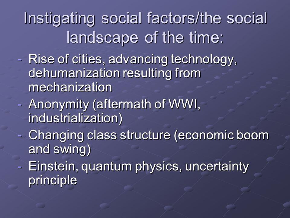 Instigating social factors/the social landscape of the time:
