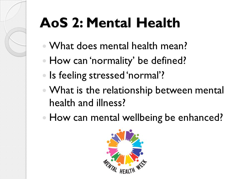 AoS 2: Mental Health What does mental health mean