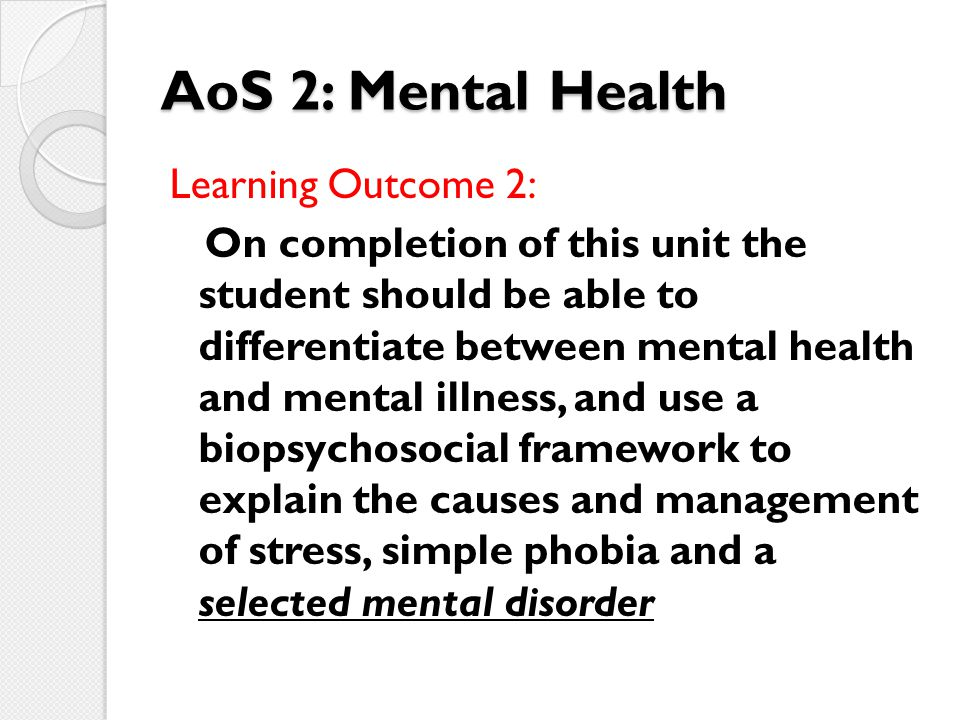 AoS 2: Mental Health