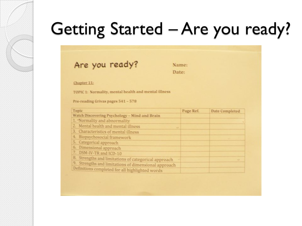 Getting Started – Are you ready
