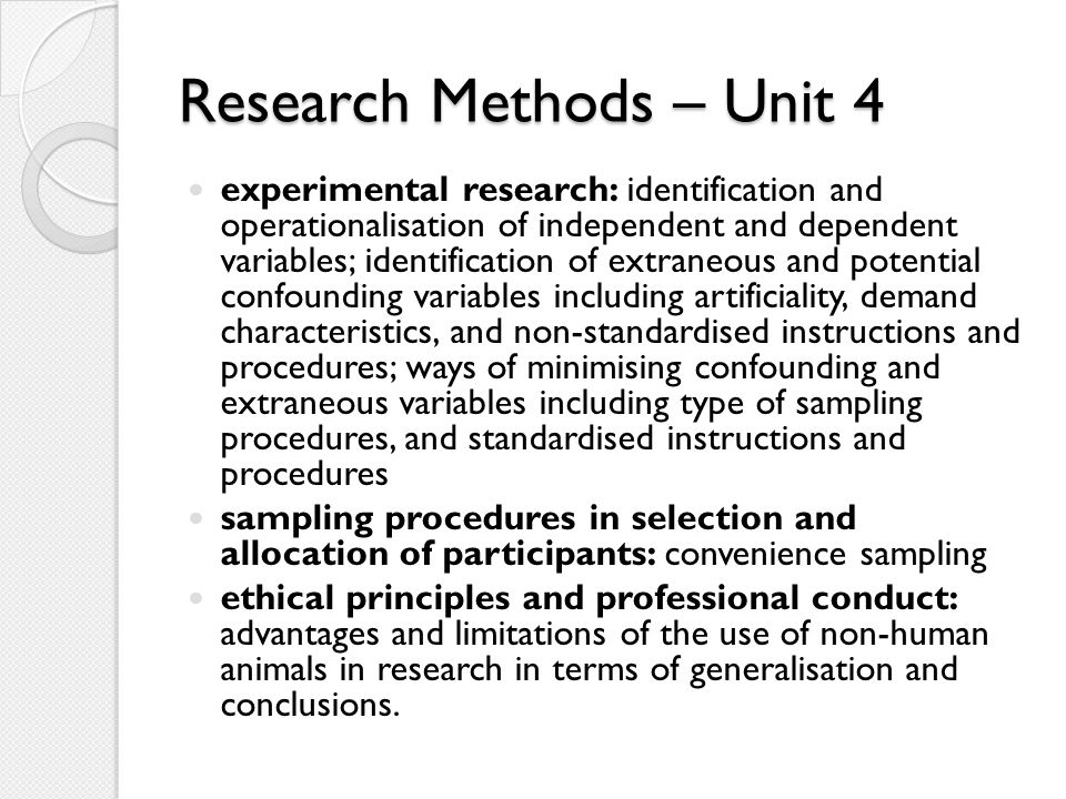 Research Methods – Unit 4