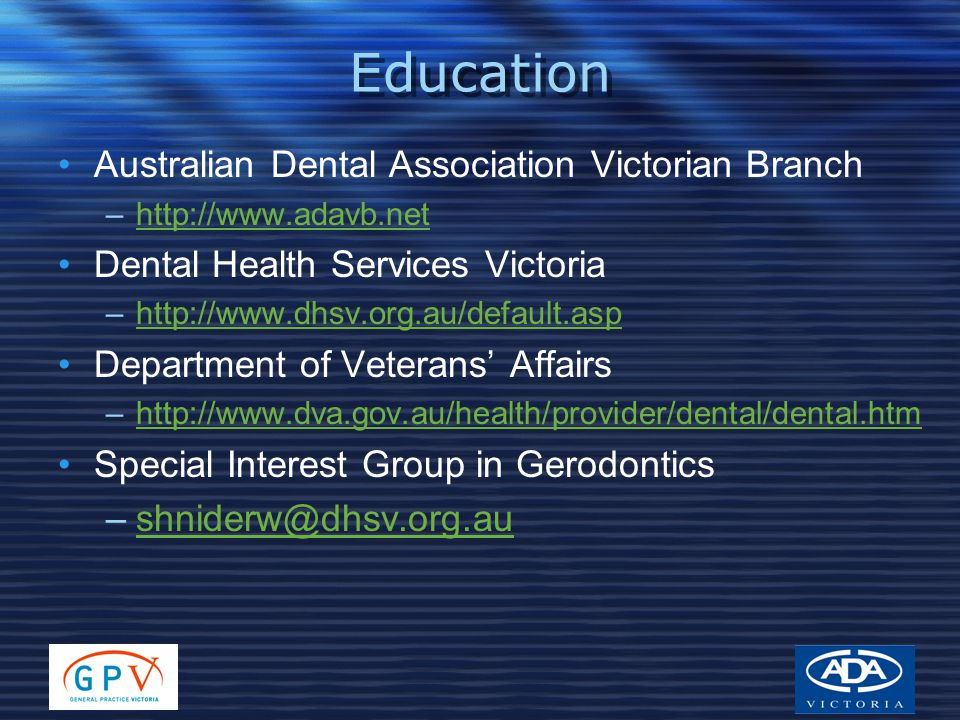 Education Australian Dental Association Victorian Branch