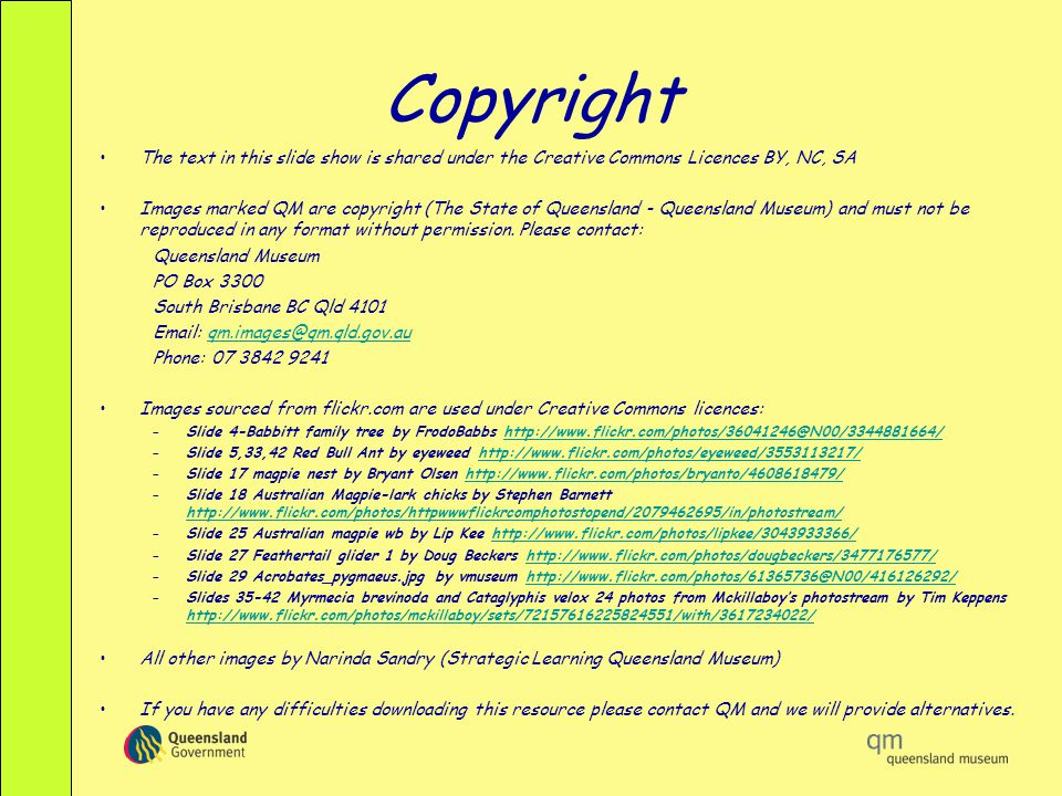 Copyright The text in this slide show is shared under the Creative Commons Licences BY, NC, SA.