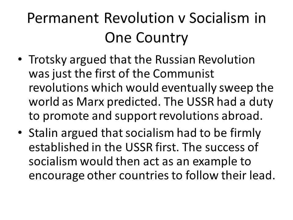 Permanent Revolution v Socialism in One Country