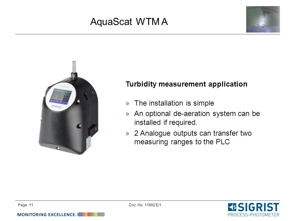 Turbidity measurement application The installation is simple