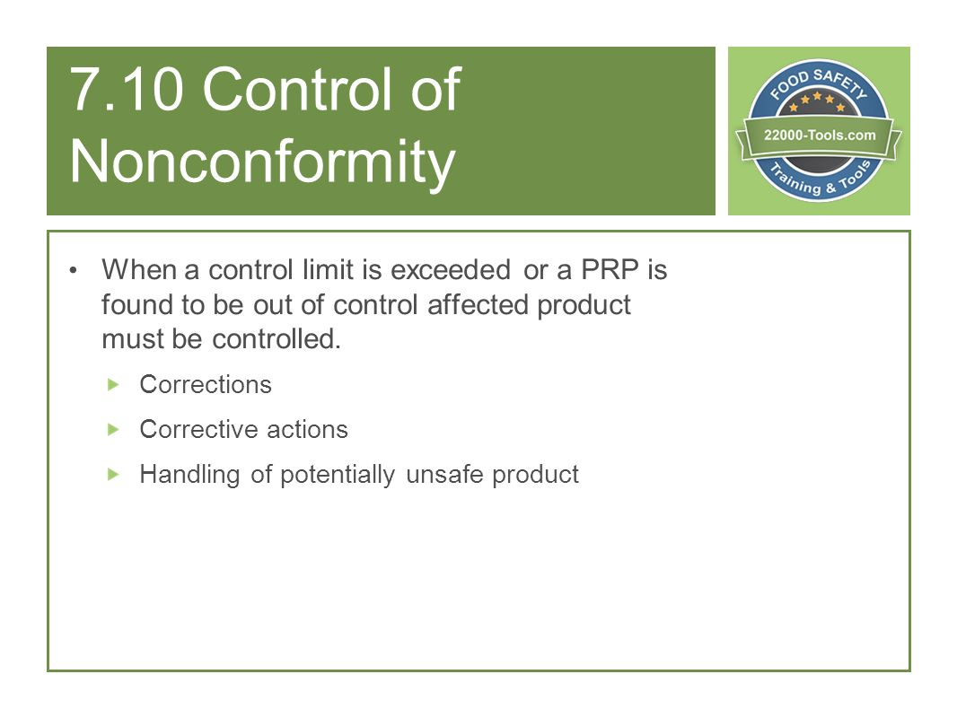 7.10 Control of Nonconformity