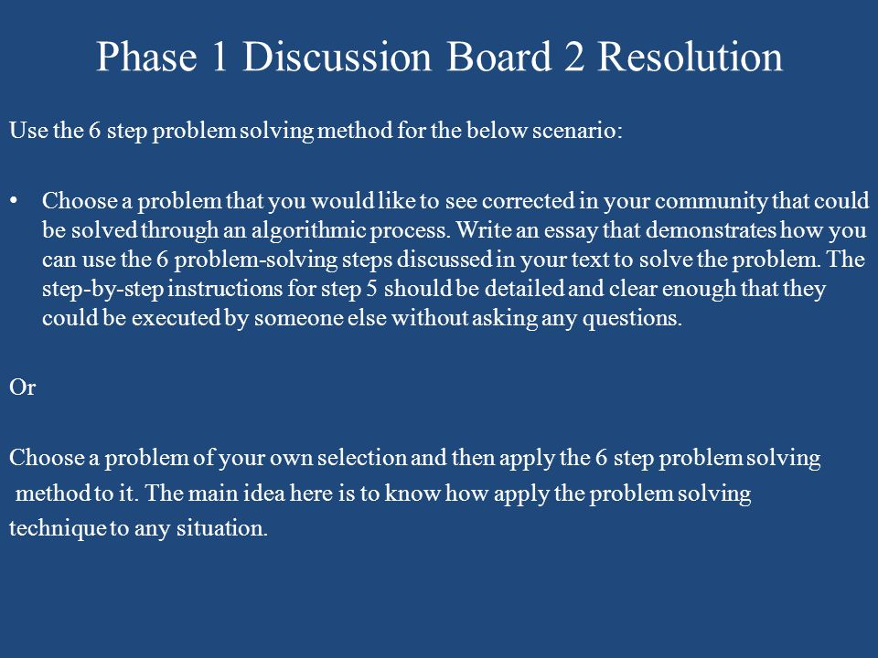 Phase 1 Discussion Board 2 Resolution